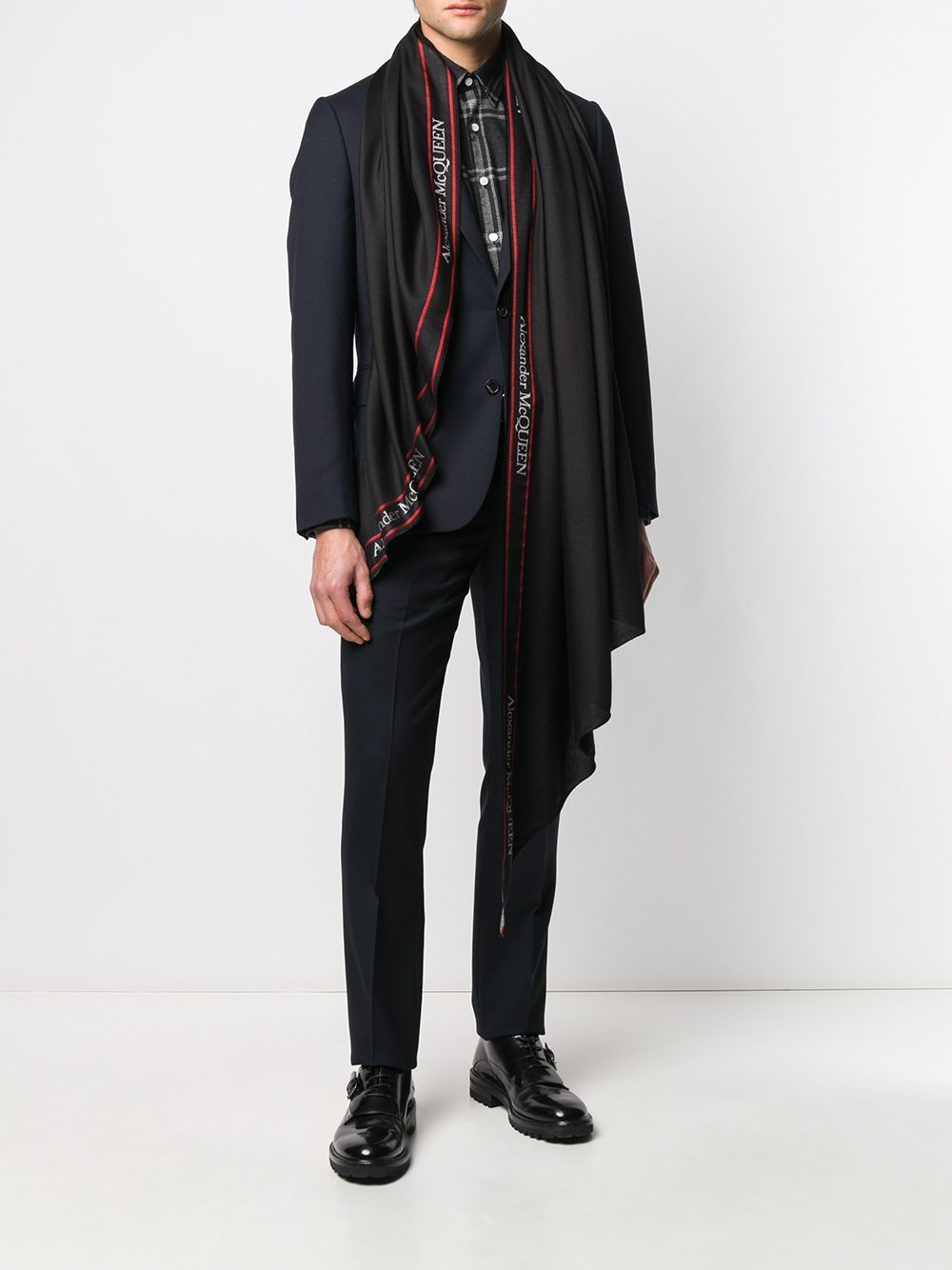 Sciarpa in misto lana con logo - Alexander Mcqueen