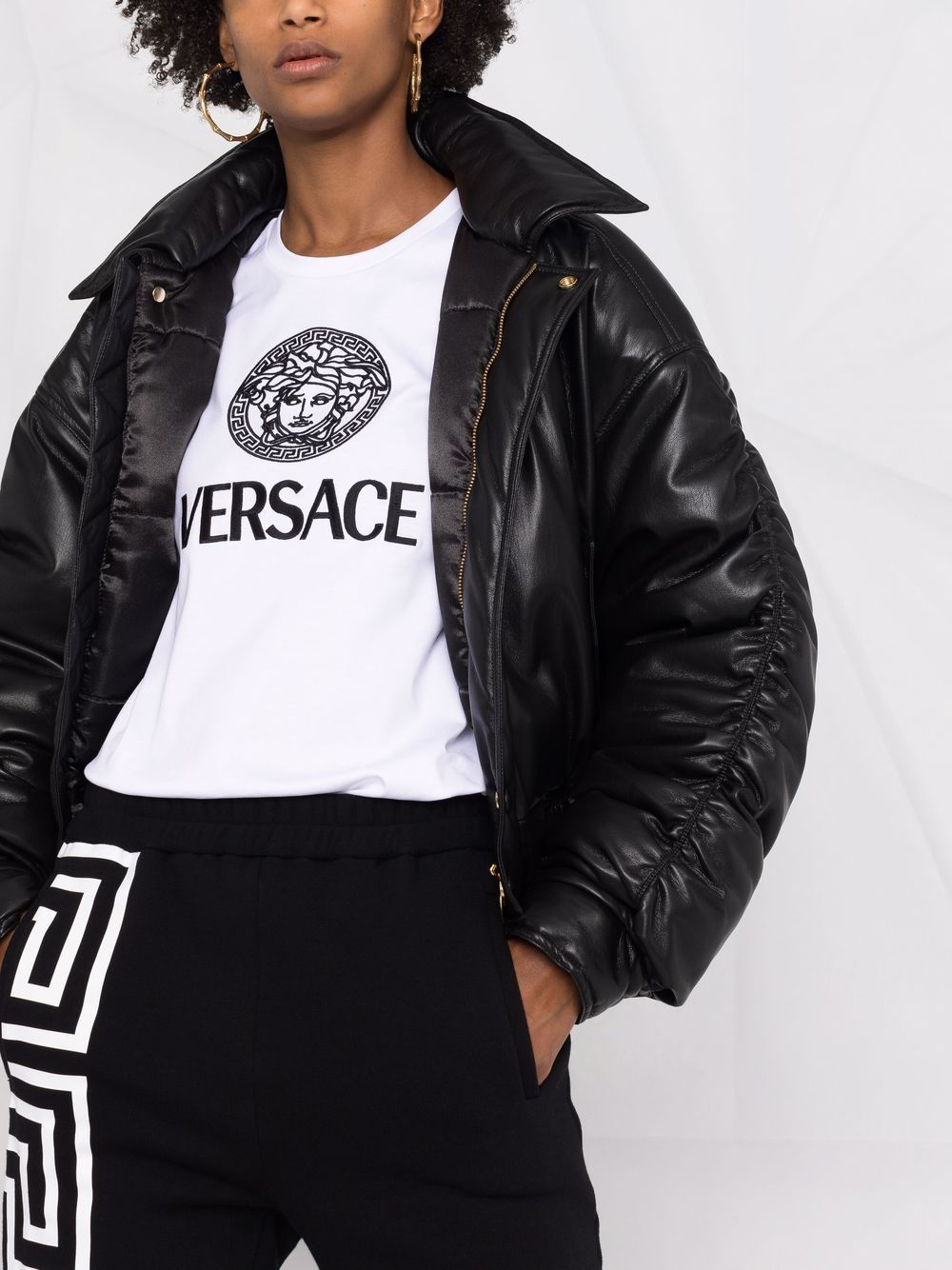 T-shirt logata in cotone - Versace