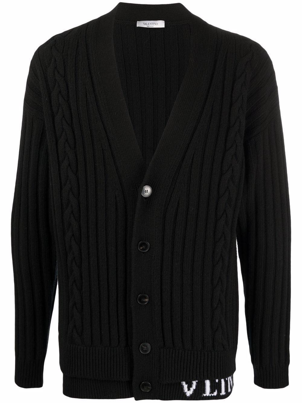 Cardigan in lana vergine con logo