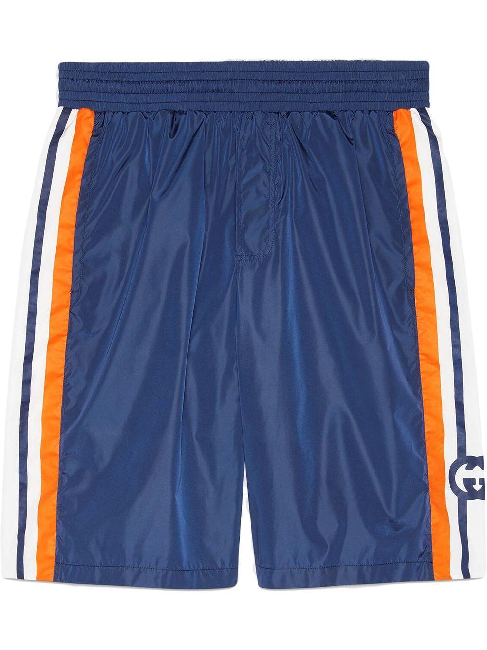 Shorts in nylon con logo gg