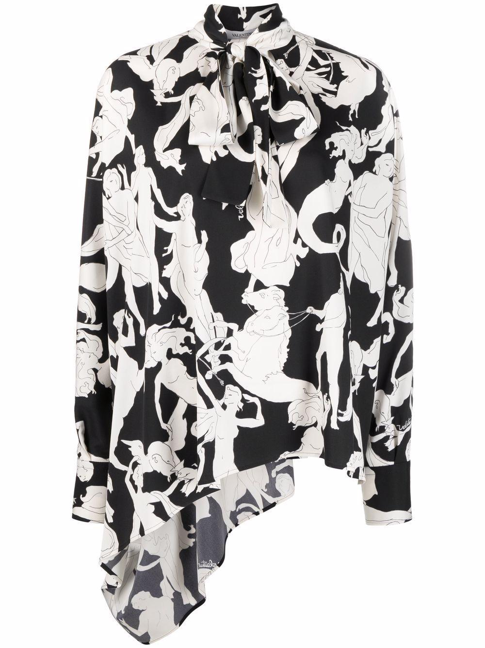 Blusa in seta stampata