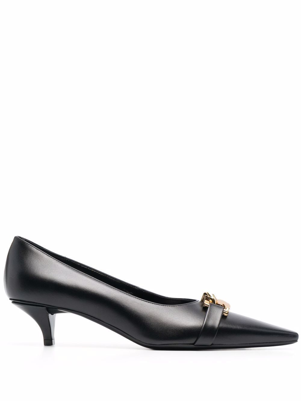 G chain leather pumps