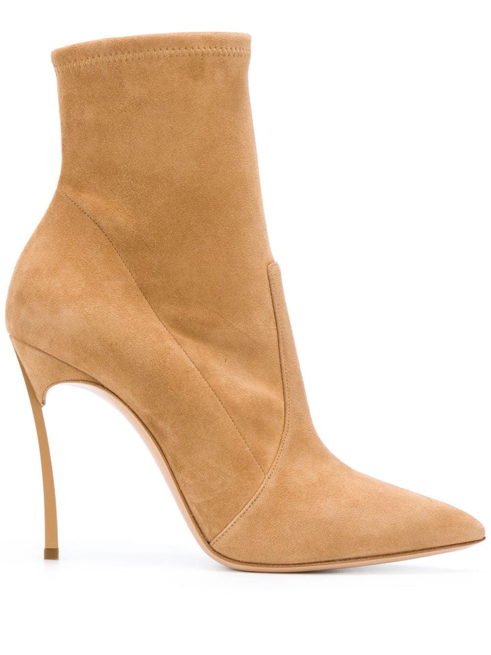 Suede leather heel ankle boots