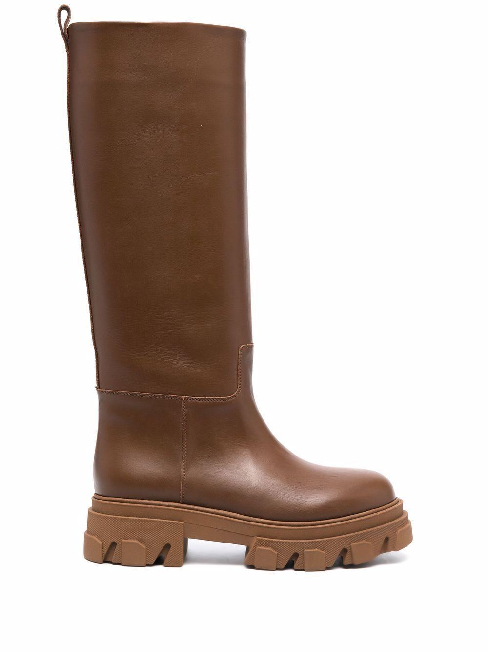 Combat boot leather