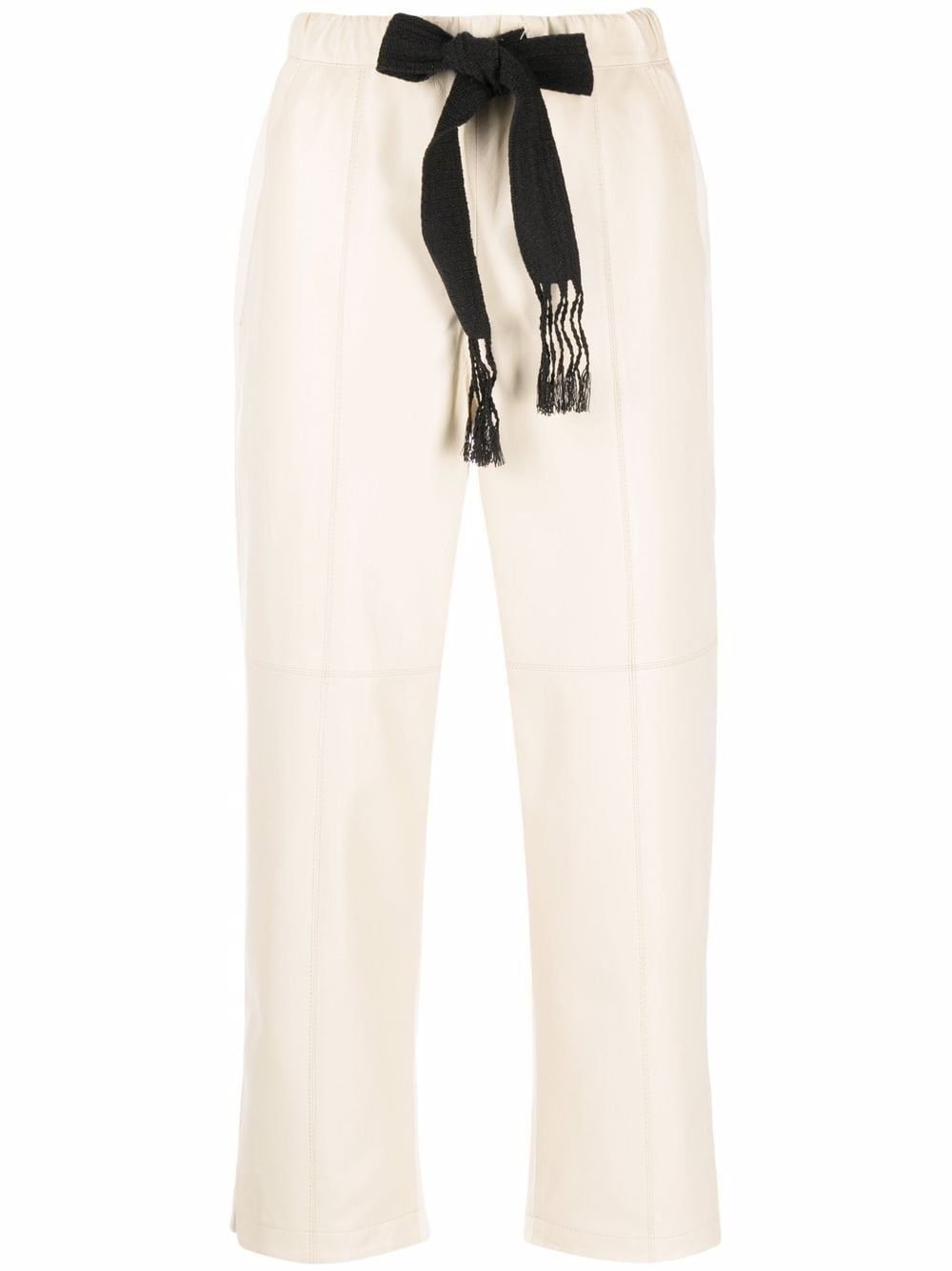 Pantalone in pelle e cotone