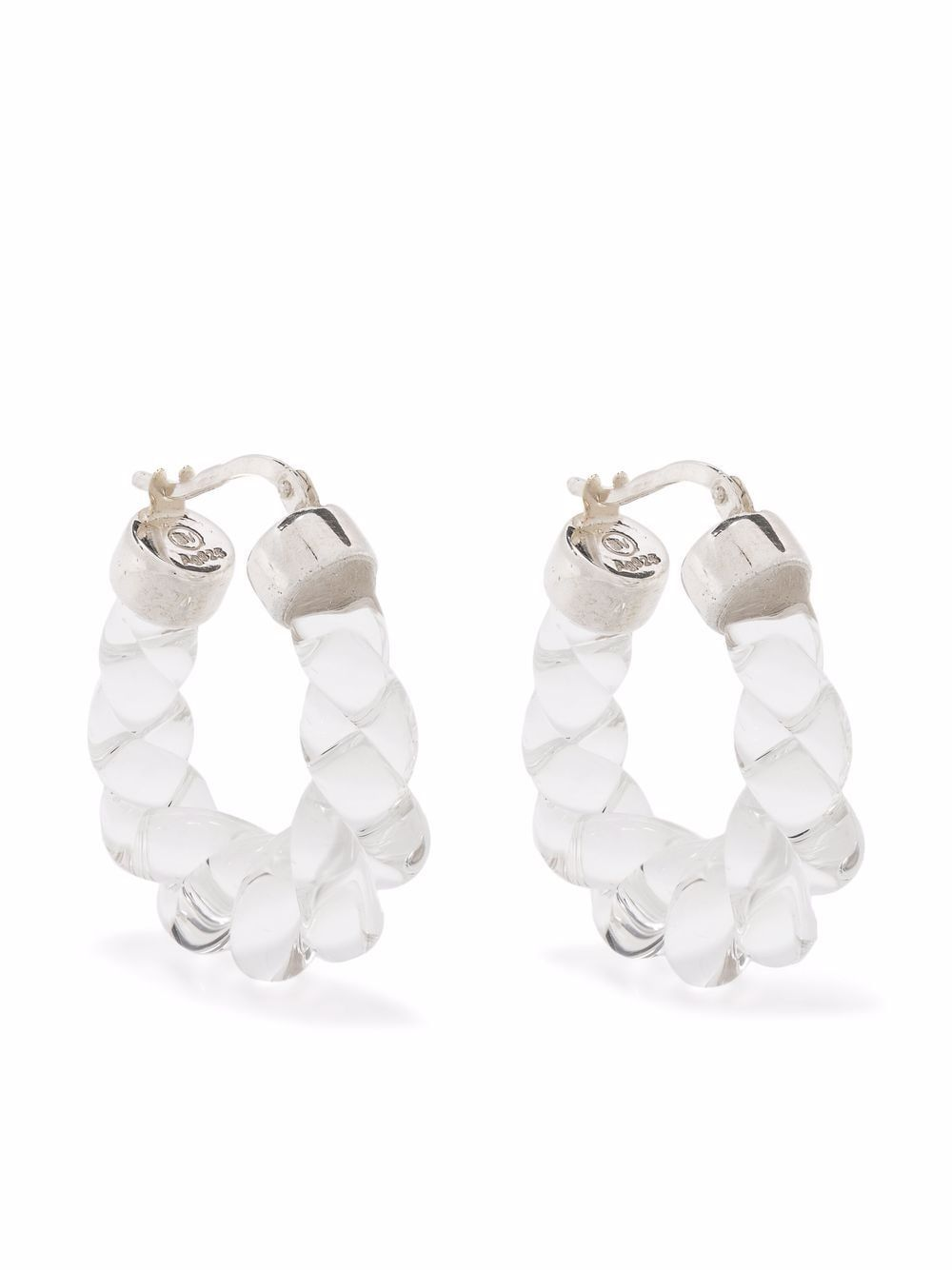 Twisred hoop silver earrings